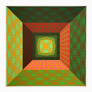 Green Orange Geometric Structure by Victor Vasarely, 1974