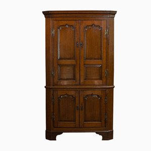 Antique Georgian English Oak Corner Cabinet Pot Cupboard, 1800s