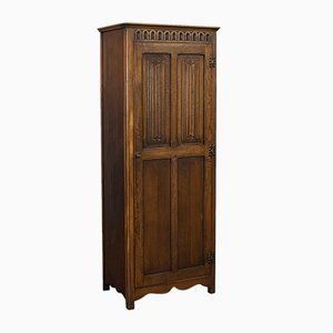 Vintage Art Deco English Oak Four Panel Ipswich Wardrobe, 1930s
