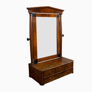Antique Victorian Empire Style English Walnut Toilet Mirror, 1880s