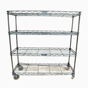 Adjustable Metal Factory Shelf on Castors, 1940s