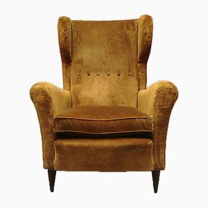 Mid-Century Italian Ocher Velvet Lounge Chair, 1940s