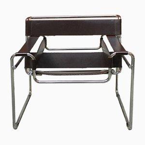 Brauner Leder B3 Wassily Armlehnstuhl von Marcel Breuer für Gavina, 1960er