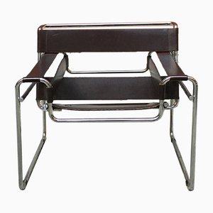 Brown Leather B3 Wassily Lounge Chair by Marcel Breuer for Gavina, 1960s