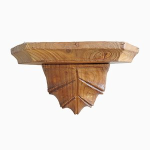 Vintage German Carved Corner Wall Shelf, 1920s