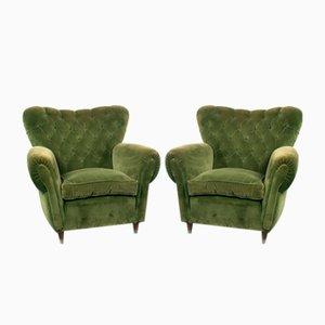 Vintage Wood and Green Velvet Lounge Chairs, 1950s, Set of 2
