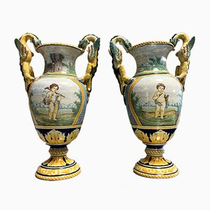 Baluster-Shaped Earthenware Vases with Winged Dragon Handles, Set of 2