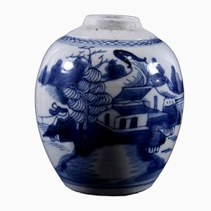 Antique Chinese Blue and White Ginger Pot with Seal, 1840s