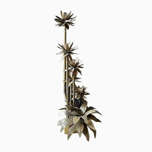 Brass Palm Tree Floor Lamp in the Style of Maison Jensen, 1960s