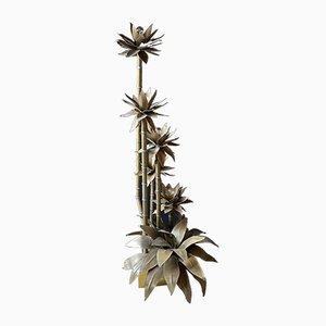 Lámpara de pie en forma de palmera de latón al estilo de Maison Jensen, años 60