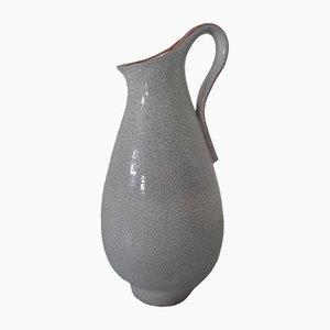 Large Studio Ceramic Majolica Handle Vase by R. Brandt, 1970s