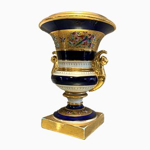 French Porcelain Medici Vase with Golden Handles from Maison Le Tallec