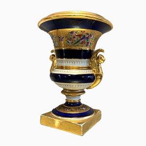 Vase Medici en Porcelaine avec Poignées Dorées de Maison Le Tallec, France