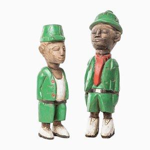 Handgefertigte geschnitzte afrikanische Statuen aus Holz, 1960er, 2er Set