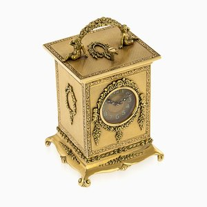 English 18K Gold Quarter Repeating Carriage Clock by Geneva Clock Co, 1920s