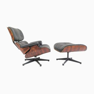 Rosewood Lounge Chair & Ottoman by Charles & Ray Eames for Vitra, 1980s, Set of 2