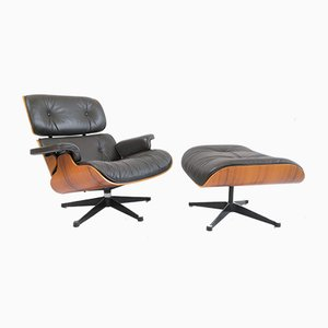 Rosewood Club Chair and Ottoman Set by Charles & Ray Eames for Vitra, 1960s