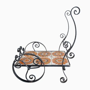 German Wrought Iron and Ceramic Tiled Flower Stand, 1970s