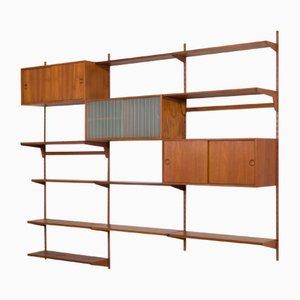 Estantería de pared de teca con armarios y estantes de Kai Kristiansen para FM Møbler, años 60