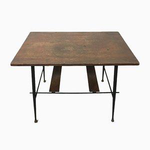 Tavolino da caffè vintage in legno di ciliegio e ferro, Italia, anni '50