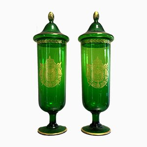 Large Antique Empire Glass and Gilded Vases, Set of 2