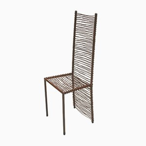 Welded Metal High Back Dining Chairs, 1990s, Set of 4