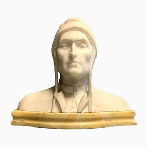 Antique Alabaster Bust of Dante, 1900s