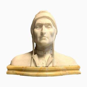 Buste Antique de Dante en Albâtre, 1900s
