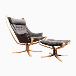 Falcon Lounge Chair and Ottoman Set by Sigurd Ressell for Vatne Møbler, 1970s