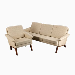 Danish Rosewood 3-Seater Sofa and Armchair Set, 1960s