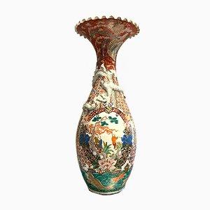 Polychrom Porzellan Corolla Vase, 19. Jh