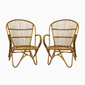 Vintage Rattan Lounge Chairs with Butterfly Feet, 1960s, Set of 2