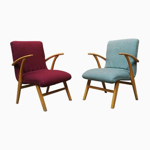 Mid-Century German Beech and Colored Fabric Lounge Chairs, 1960s, Set of 2