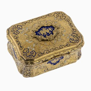 Antique German 14K Solid Gold and Enamel Snuff Box from Carl Martin Weishaupt & Sohne, 1850s
