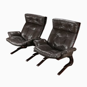 Norwegian Brown Leather Kangoo Style Lounge Chairs, 1970s, Set of 2