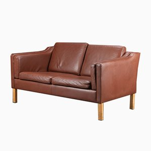 Danish Brown Leather 2-Seater Sofa, 1970s