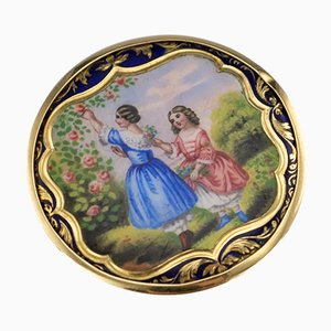 Antique Russian 14K Gold and Enamel Pill Box, 1900s