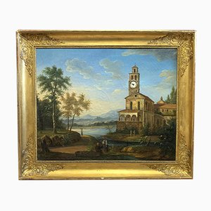 Landscape with Tower Clock Painting, 1820s