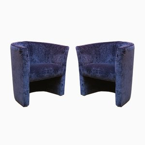 Mid-Century Italian Blue Velvet Lounge Chairs, 1970s, Set of 2