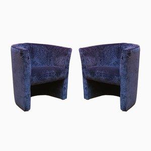 Mid-Century Italian Blue Velvet Lounge Chairs, 1970s, Set of 2