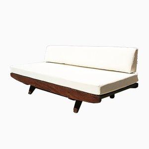 Divano in legno e tessuto bianco, anni '60