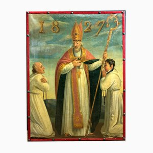 19th Century French Saint Bishop Oil Painting, 1827