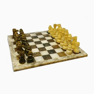 Italian Handmade Green and Beige Marble Chess Set, 1960s