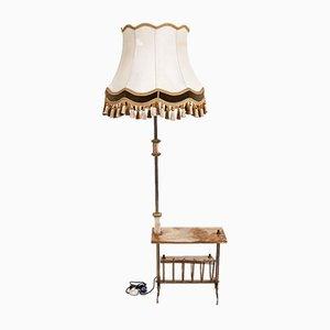 Lámpara de pie Mid-Century con revistero, años 40