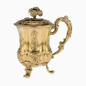 Antique Russian Solid Silver Gilt Cup with Cover from Stahle Carl Magnus, 1840s