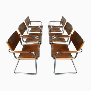 Vintage Saddle Leather Cantilever Model S34 Armchairs by Mart Stam & Marcel Breuer, Set of 6