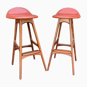 Bar Stools by Erik Buch for Oddense Maskinsnedkeri / O.D. Møbler, 1960s, Set of 2