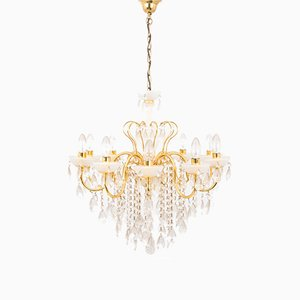 Mid-Century Crystal Chandelier, 1950s