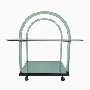 Vintage Italian Curved Glass and Mirror Bar Cart from Fiam