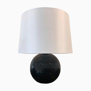 Lampe de Bureau Art Déco en Verre Opalin Noir